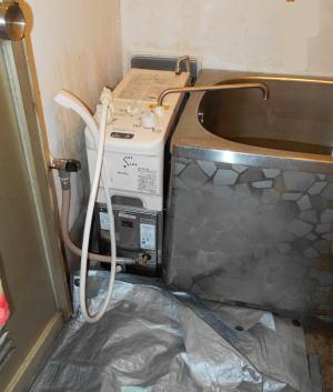 取り替え完了:リンナイ製シャワー付きバランス式ふろがまRBF-A80SN