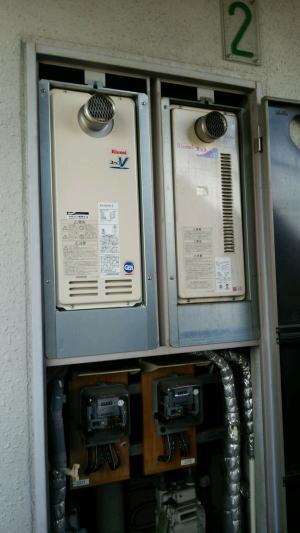 新しい金枠UOP-5030-3+新しい給湯器本体RUX-VS1616T-Eを取り付け
