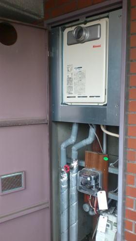 新しい給湯器RUX-A1611T-E、部材が入荷後、取り替え完了