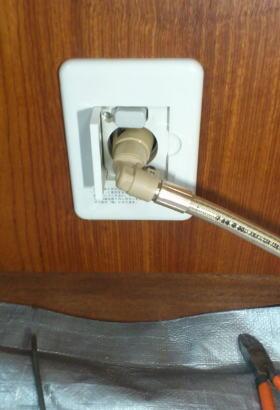 元栓にガスコードを接続したところ