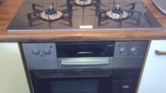 コンロ部分だけ交換完了 リッセシリーズRBC4WNGN66(横幅75cm天板:グラデーションブラウン色)