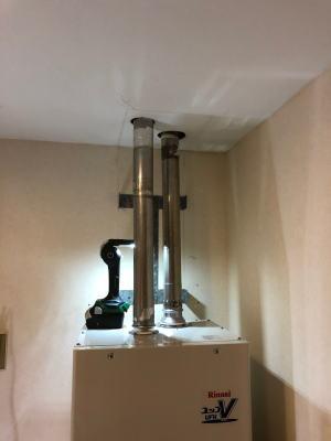 給排気筒は直径60mmのステンレス製排気筒が2本接続です